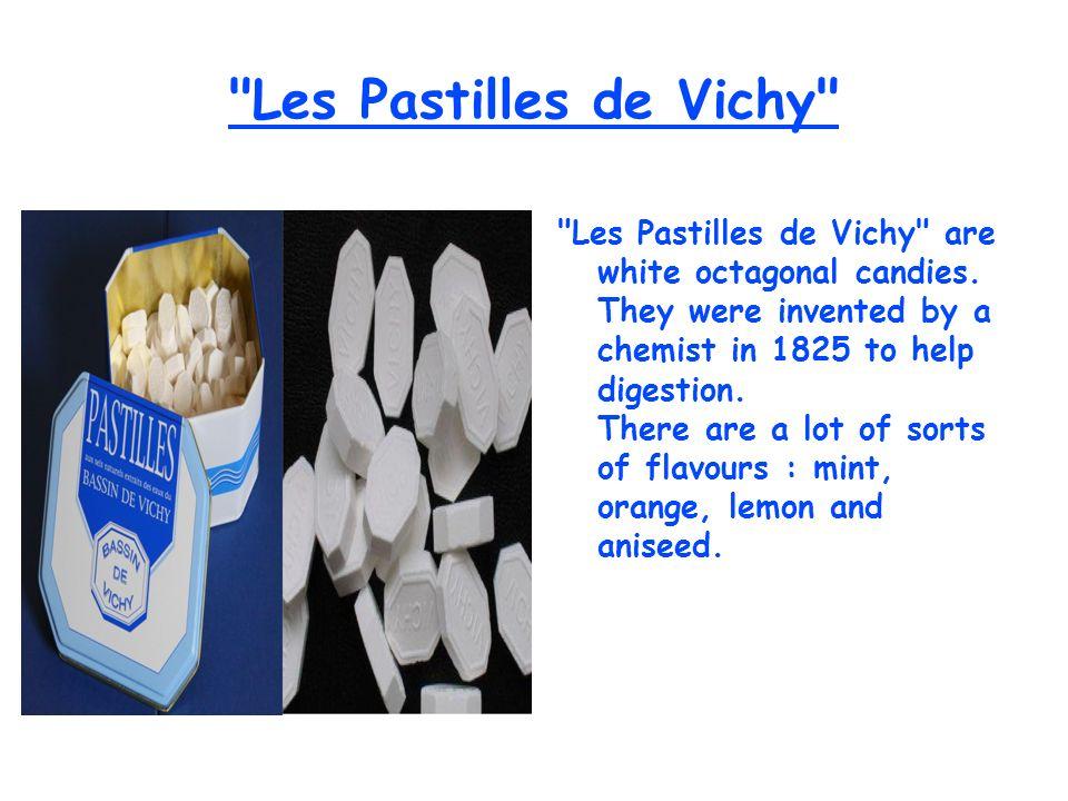 Les Pastilles de Vichy Les Pastilles de Vichy are white octagonal candies.