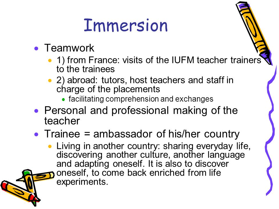 Immersion Teamwork 1) from France: visits of the IUFM teacher trainers to the trainees 2) abroad: tutors, host teachers and staff in charge of the pla