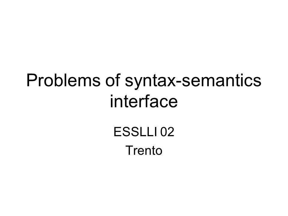 Problems of syntax-semantics interface ESSLLI 02 Trento