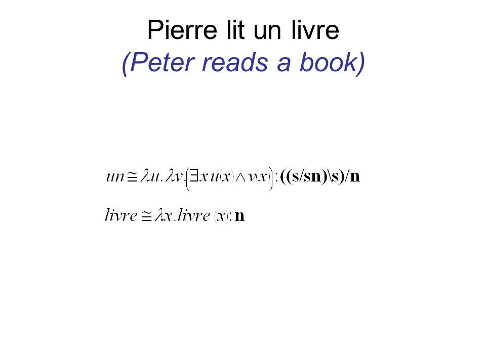 Pierre lit un livre (Peter reads a book)