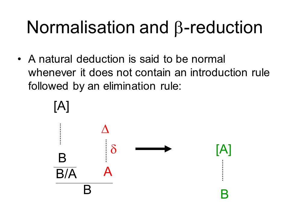 Normalisation and -reduction A natural deduction is said to be normal whenever it does not contain an introduction rule followed by an elimination rule: [A] B/A B B A B [A]