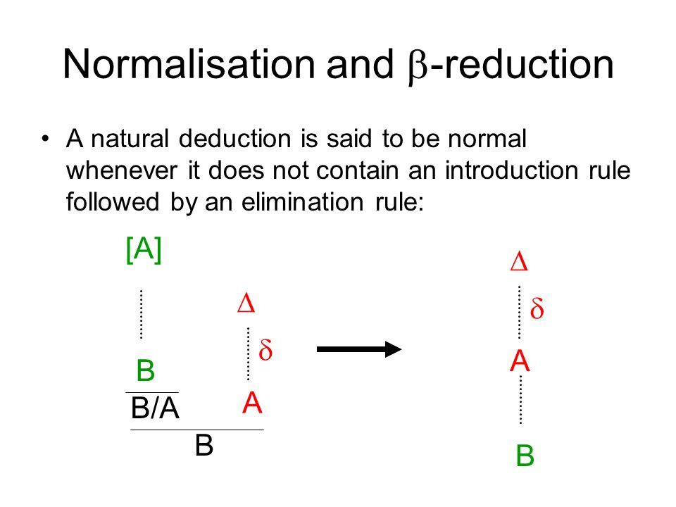 Normalisation and -reduction A natural deduction is said to be normal whenever it does not contain an introduction rule followed by an elimination rule: B/A B [A] B A A B
