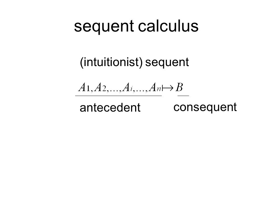 sequent calculus (intuitionist) sequent antecedent consequent