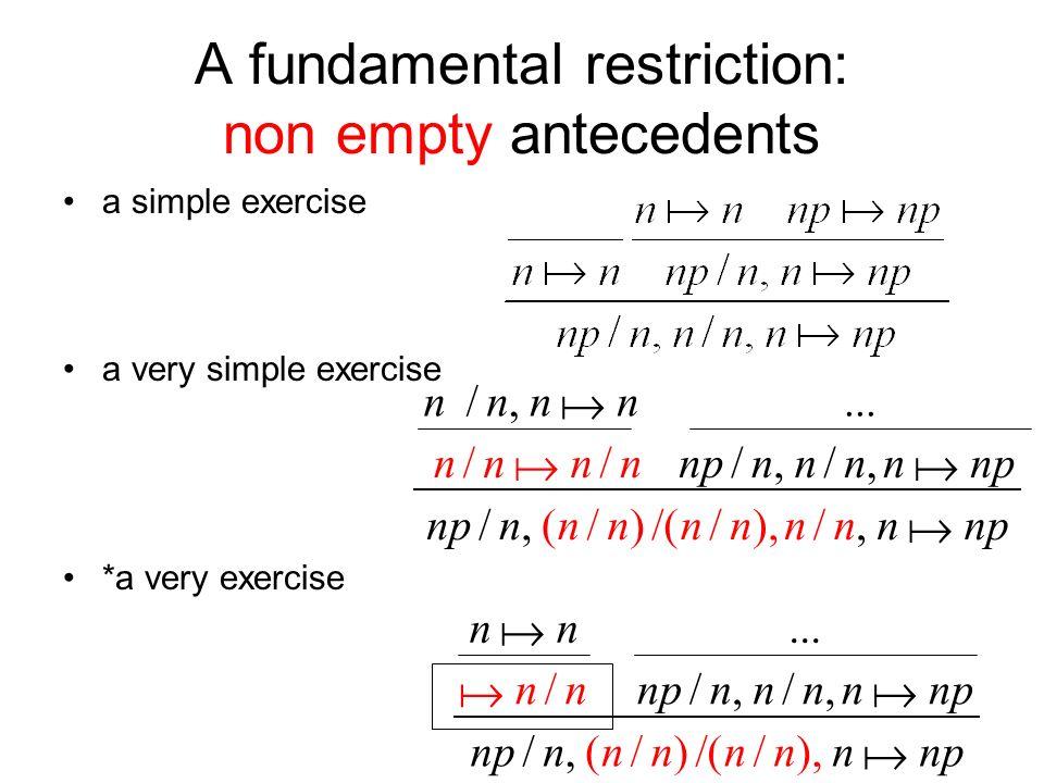 A fundamental restriction: non empty antecedents a simple exercise a very simple exercise *a very exercise npnn nnnn n,nnnnnn/),//()/(,/,/,/ nnn...