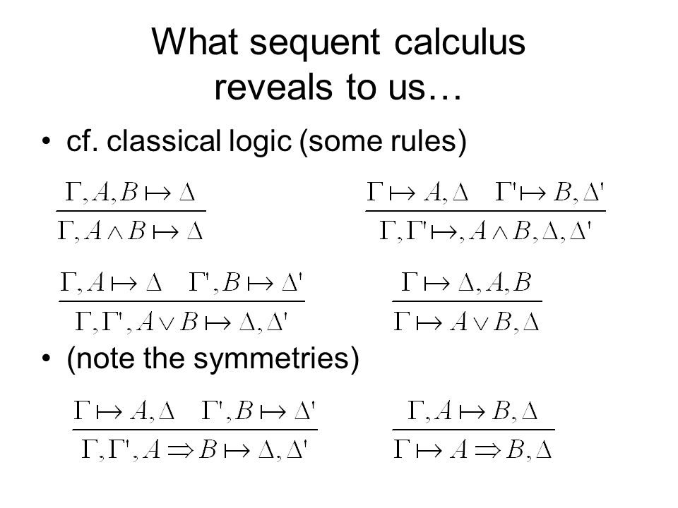 What sequent calculus reveals to us… cf. classical logic (some rules) (note the symmetries)
