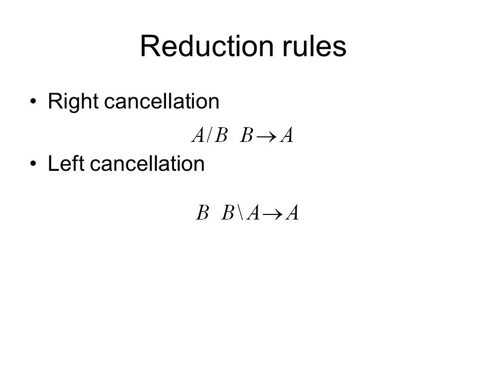 Reduction rules Right cancellation Left cancellation