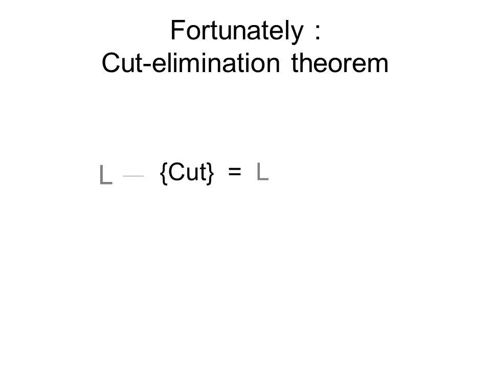 L {Cut} = L Fortunately : Cut-elimination theorem