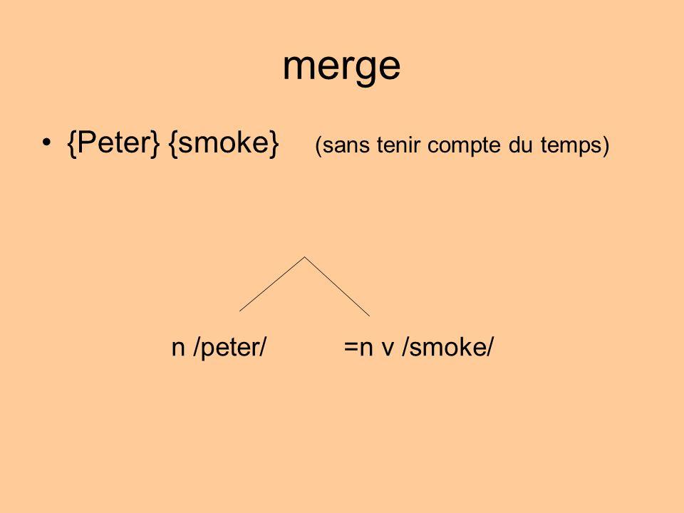 merge {Peter} {smoke} (sans tenir compte du temps) n /peter/=n v /smoke/