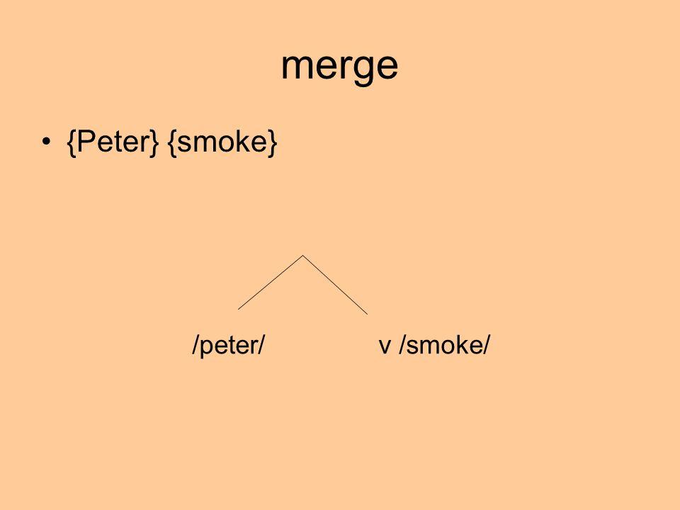 merge {Peter} {smoke} /peter/ v /smoke/