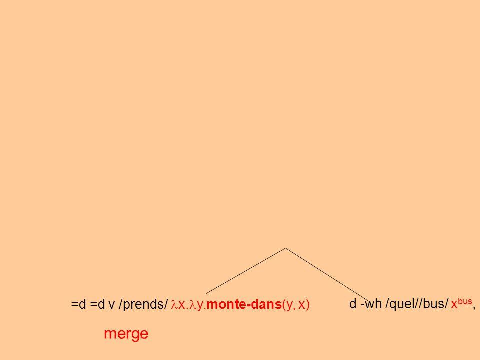 =d =d v /prends/ x. y.monte-dans(y, x) d -wh /quel//bus/ x bus, merge