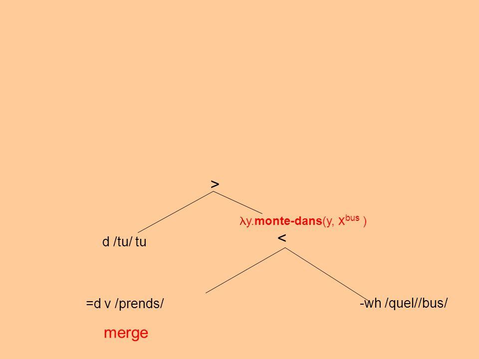 =d v /prends/ -wh /quel//bus/ merge < y.monte-dans(y, x bus ) > d /tu/ tu