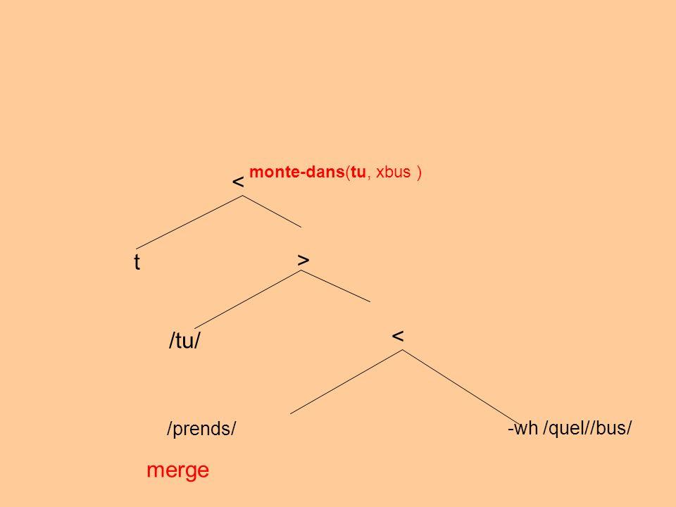 /prends/ -wh /quel//bus/ merge < > /tu/ monte-dans(tu, xbus ) < t