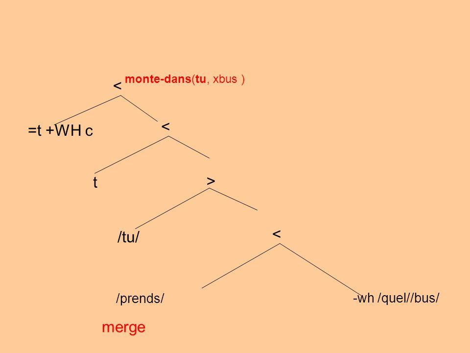 /prends/ -wh /quel//bus/ merge < > /tu/ monte-dans(tu, xbus ) < t < =t +WH c