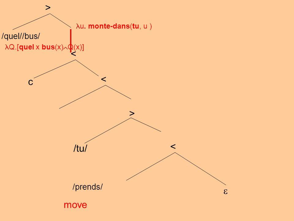 /prends/ move < > /tu/ < < c /quel//bus/ > u. monte-dans(tu, u ) Q.[quel x bus(x) Q(x)]