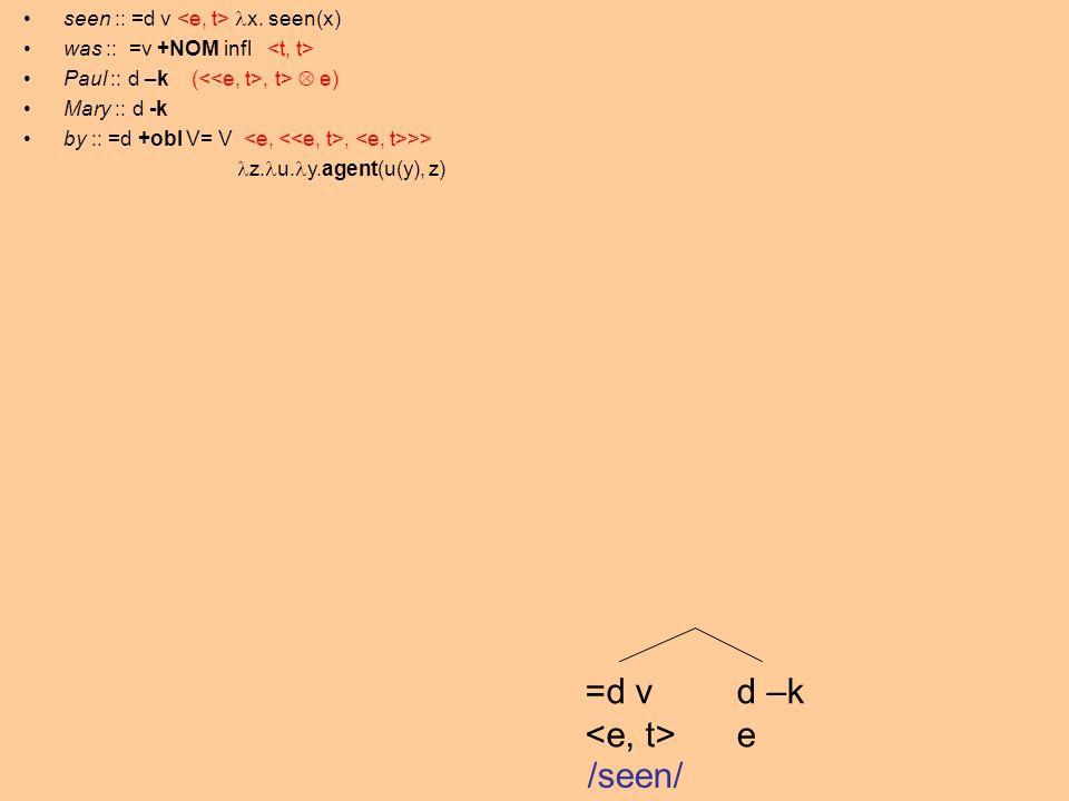 =d v d –k e /seen/ seen :: =d v x. seen(x) was :: =v +NOM infl Paul :: d –k (, t> e) Mary :: d -k by :: =d +obl V= V, >> z. u. y.agent(u(y), z)