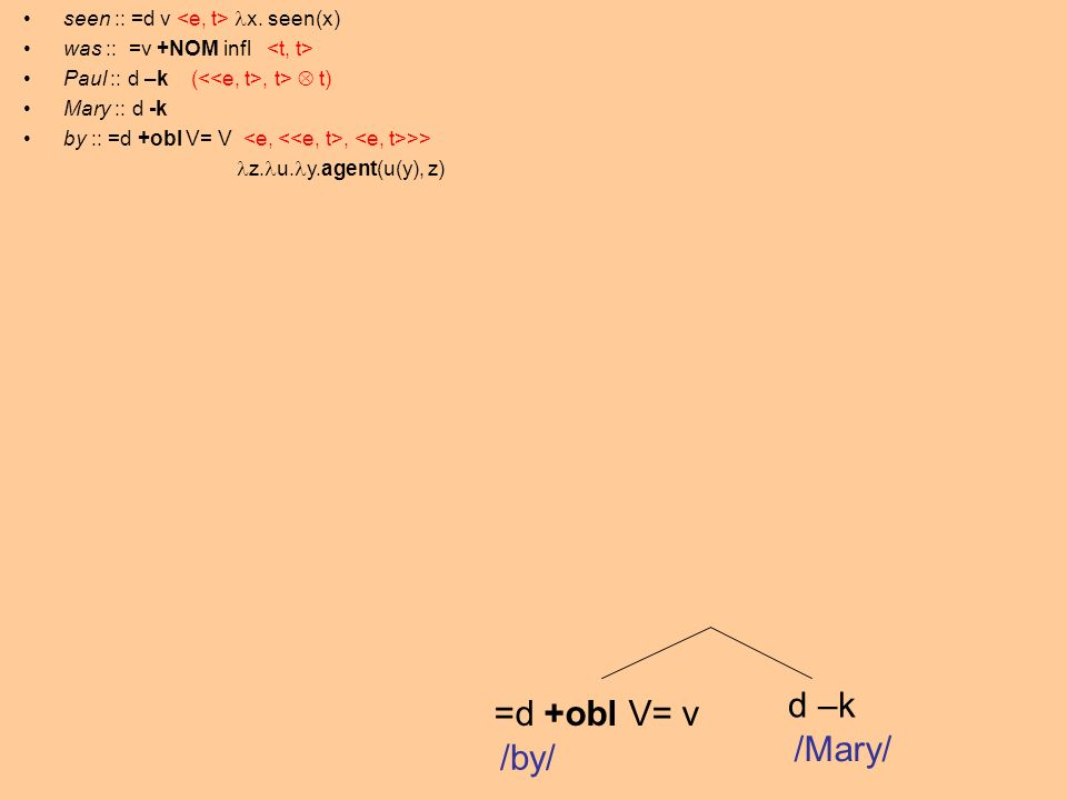 =d +obl V= v d –k /by/ /Mary/ seen :: =d v x.