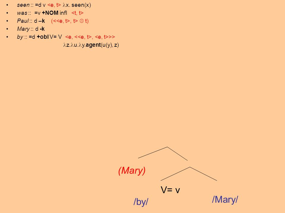 V= v /by/ /Mary/ (Mary) seen :: =d v x.