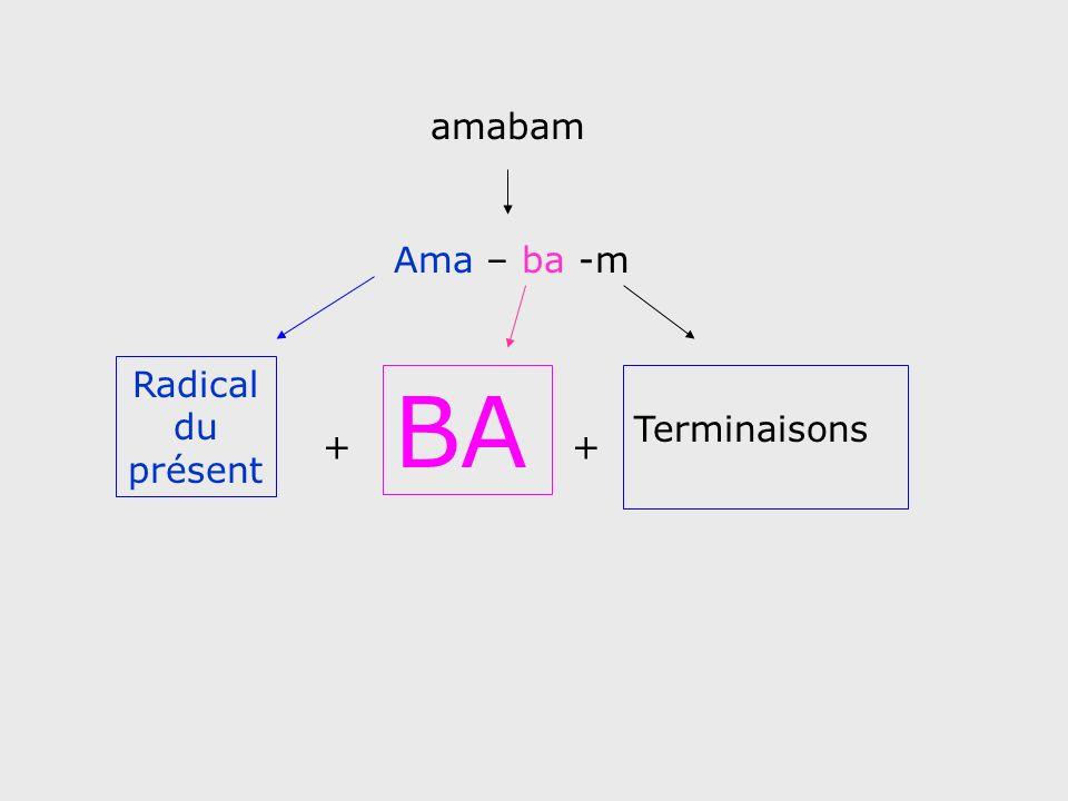 Radical du présent + BA + Terminaisons Ama – ba -m amabam