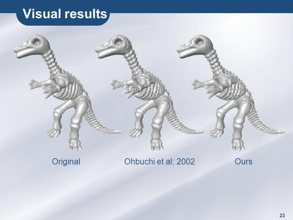 23 Visual results OriginalOhbuchi et al; 2002 Ours