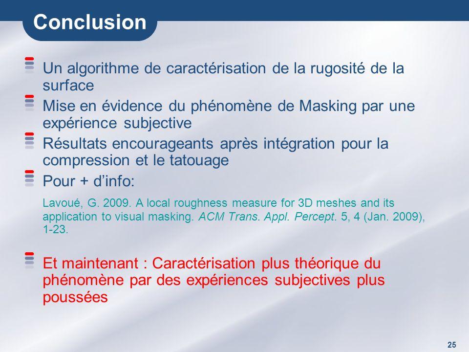 25 Conclusion Un algorithme de caractérisation de la rugosité de la surface Mise en évidence du phénomène de Masking par une expérience subjective Résultats encourageants après intégration pour la compression et le tatouage Pour + dinfo: Lavoué, G.