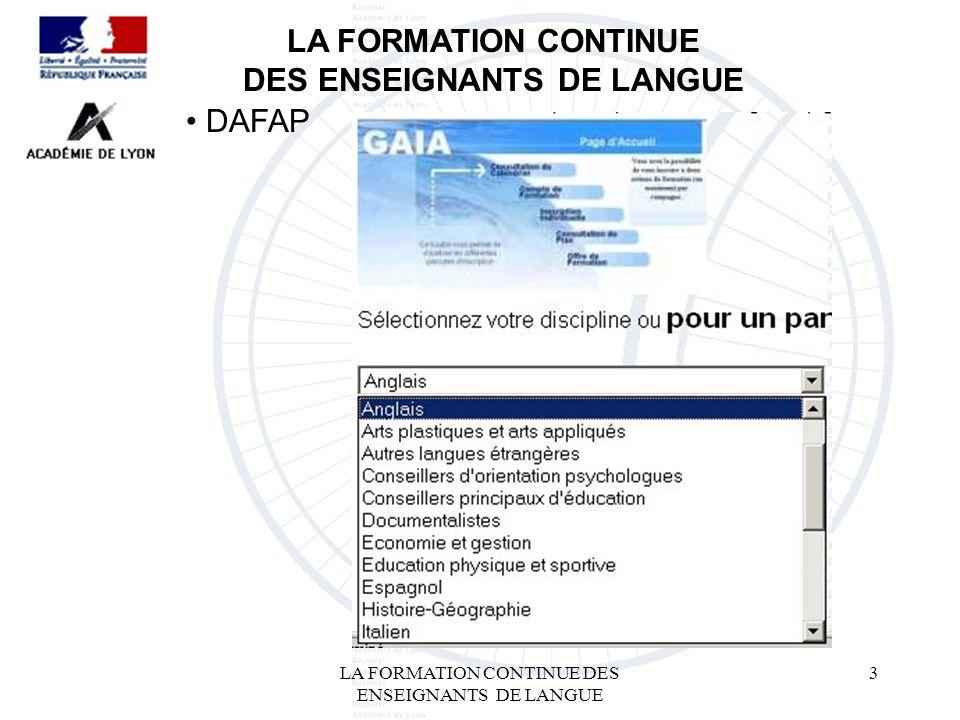 LA FORMATION CONTINUE DES ENSEIGNANTS DE LANGUE 3 LA FORMATION CONTINUE DES ENSEIGNANTS DE LANGUE DAFAP