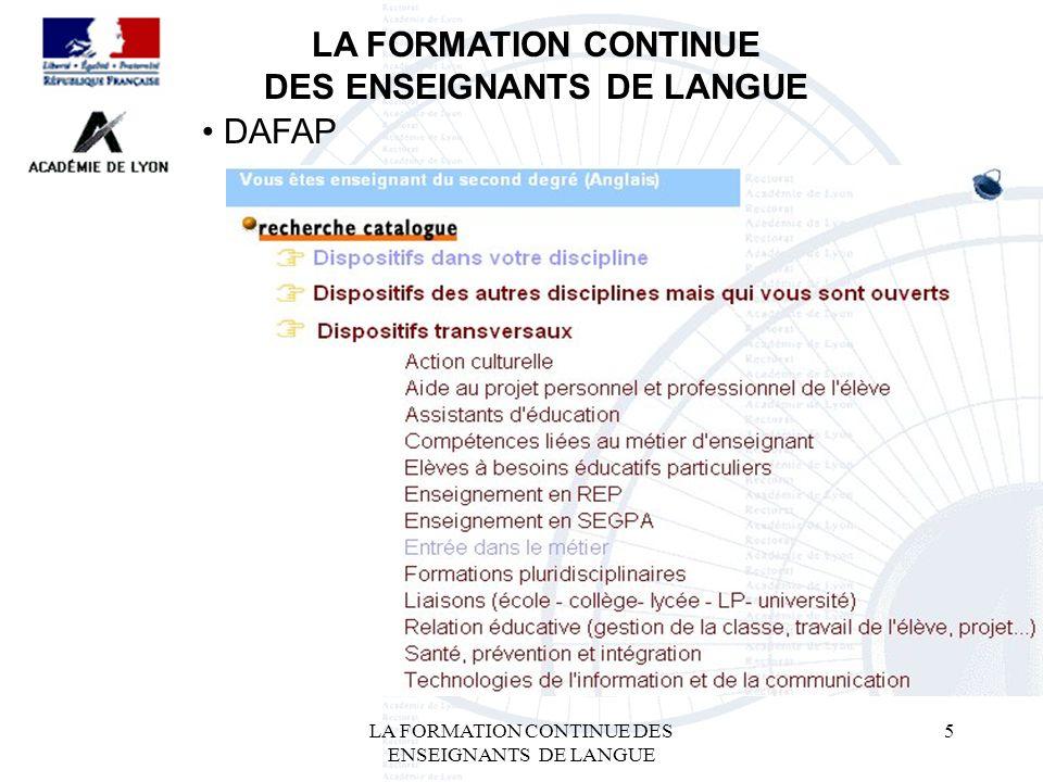 LA FORMATION CONTINUE DES ENSEIGNANTS DE LANGUE 5 LA FORMATION CONTINUE DES ENSEIGNANTS DE LANGUE DAFAP
