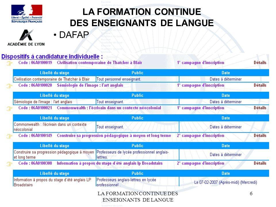 LA FORMATION CONTINUE DES ENSEIGNANTS DE LANGUE 6 LA FORMATION CONTINUE DES ENSEIGNANTS DE LANGUE DAFAP