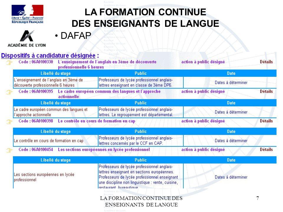 LA FORMATION CONTINUE DES ENSEIGNANTS DE LANGUE 7 LA FORMATION CONTINUE DES ENSEIGNANTS DE LANGUE DAFAP