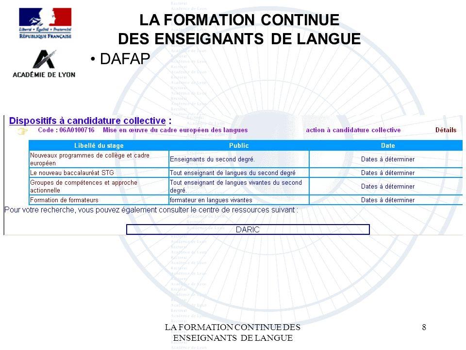 LA FORMATION CONTINUE DES ENSEIGNANTS DE LANGUE 8 LA FORMATION CONTINUE DES ENSEIGNANTS DE LANGUE DAFAP