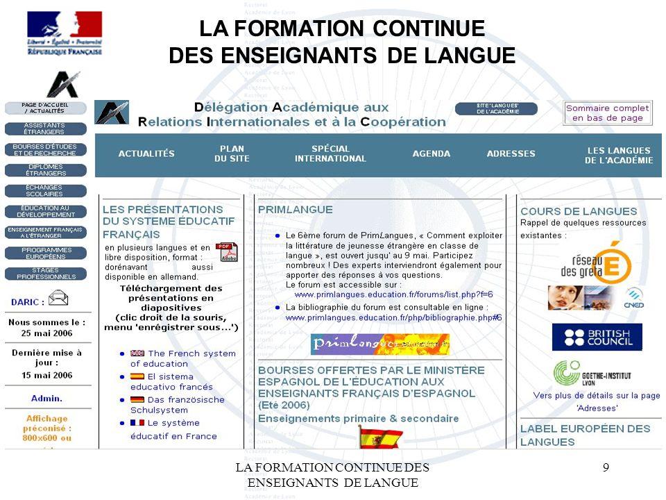 LA FORMATION CONTINUE DES ENSEIGNANTS DE LANGUE 9 LA FORMATION CONTINUE DES ENSEIGNANTS DE LANGUE