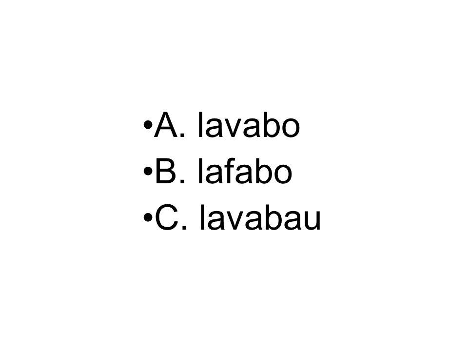 A. lavabo B. lafabo C. lavabau