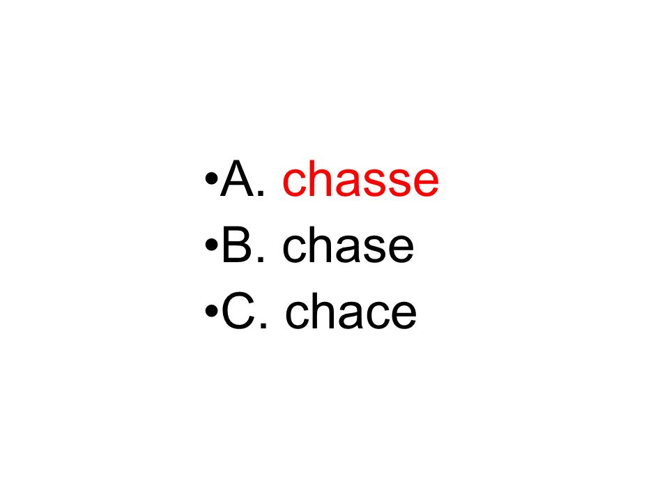 A. chasse B. chase C. chace