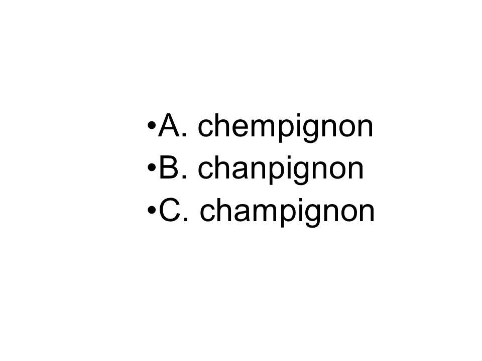 A. chempignon B. chanpignon C. champignon