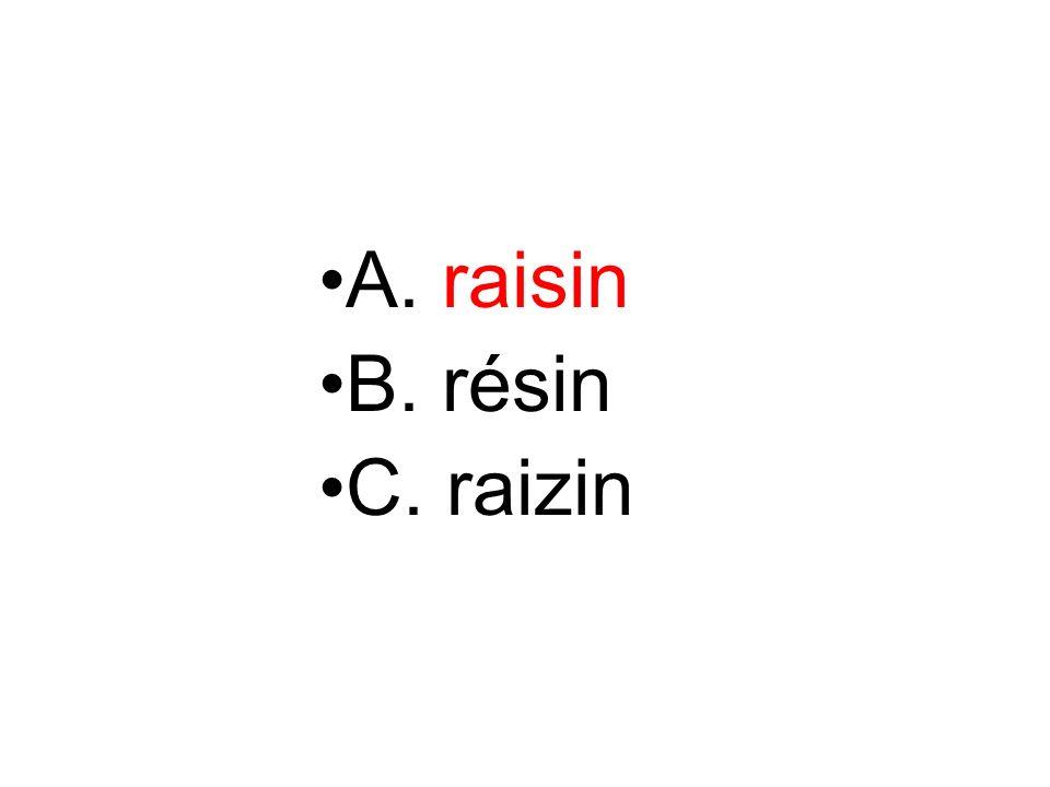 A. raisin B. résin C. raizin