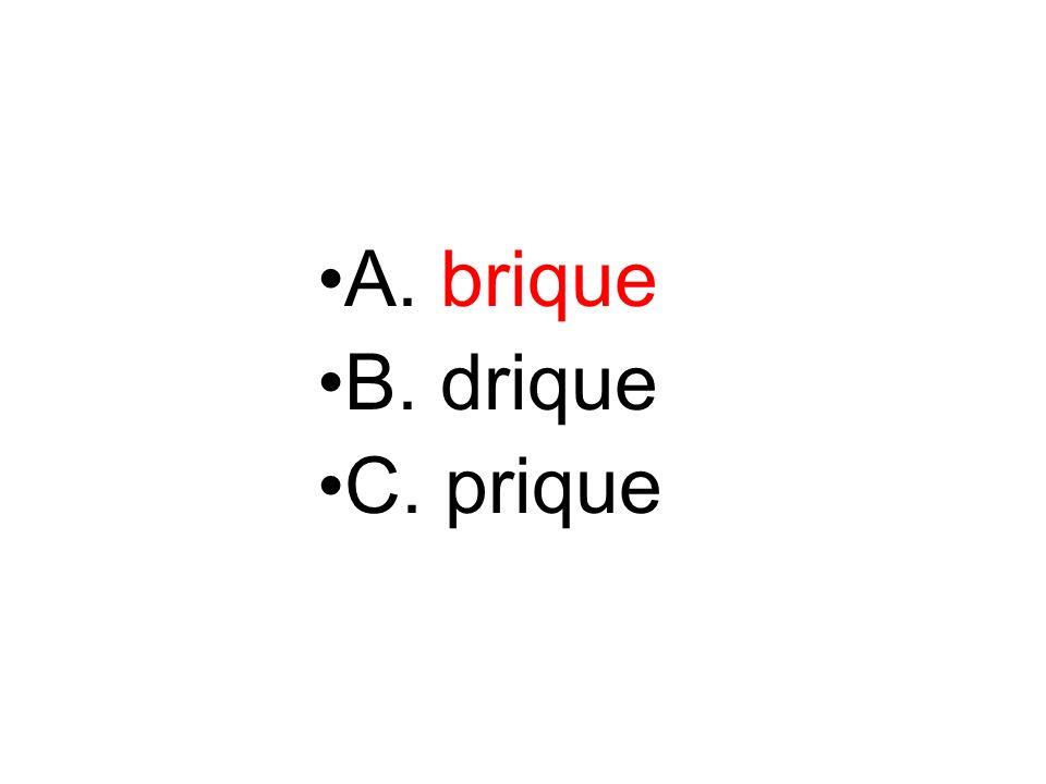 A. brique B. drique C. prique