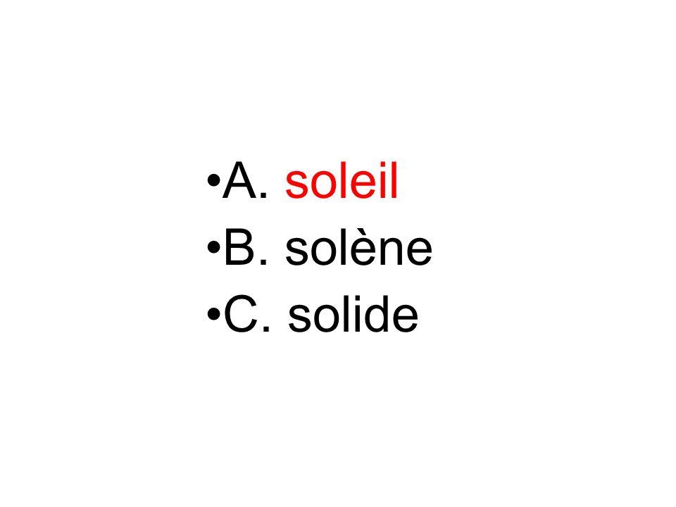 A. soleil B. solène C. solide