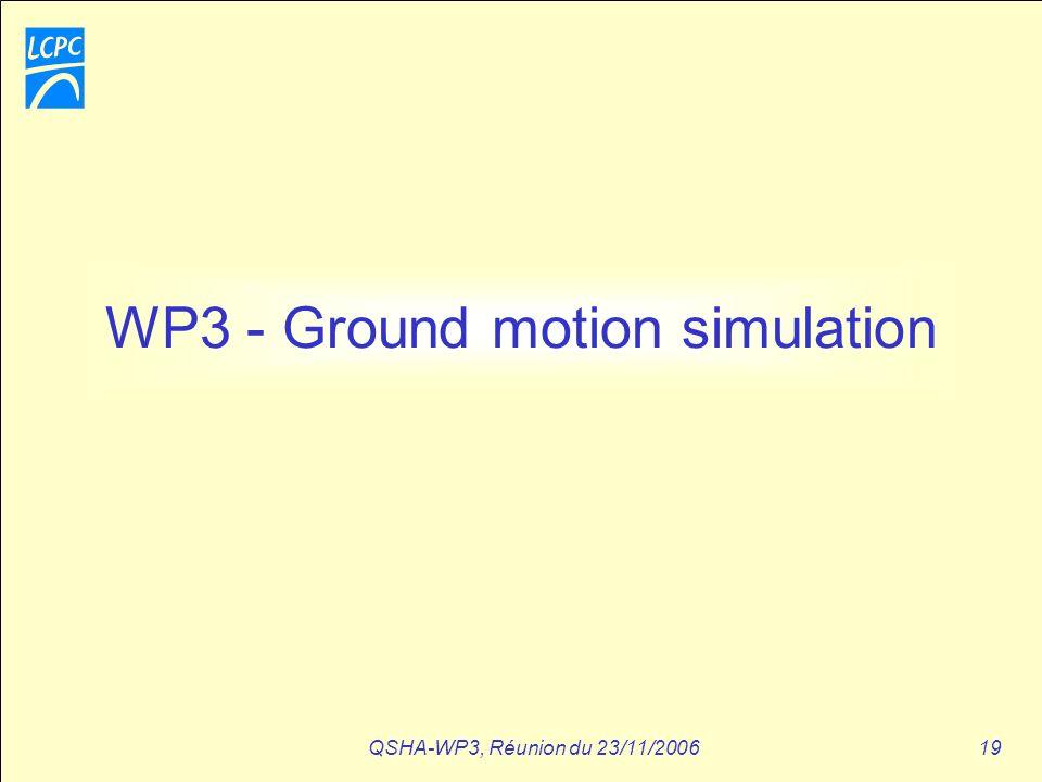QSHA-WP3, Réunion du 23/11/200619 WP3 - Ground motion simulation