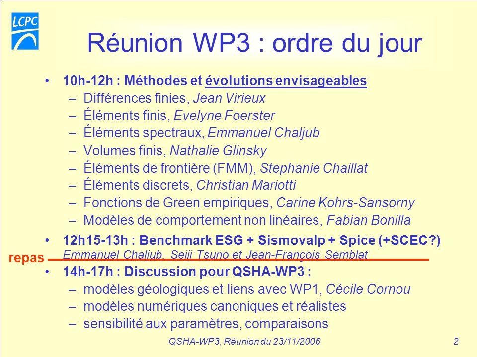 QSHA-WP3, Réunion du 23/11/20062 Réunion WP3 : ordre du jour 10h-12h : Méthodes et évolutions envisageables –Différences finies, Jean Virieux –Élément