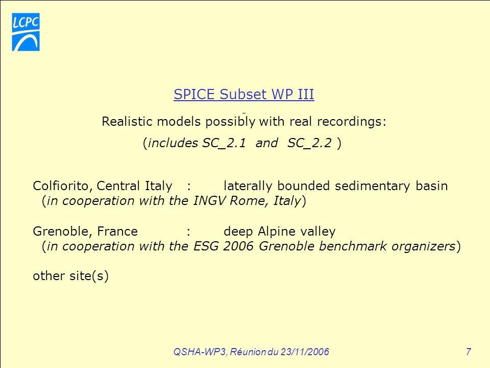 QSHA-WP3, Réunion du 23/11/200628 WP 3-6 Lessons (J.Virieux) ????