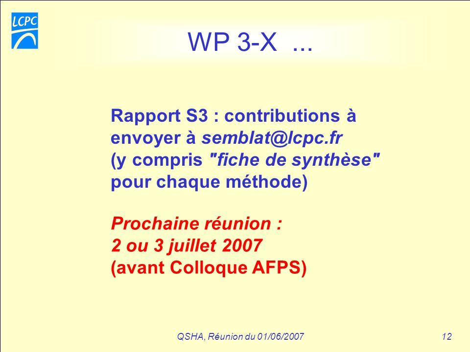 QSHA, Réunion du 01/06/200712 WP 3-X... Rapport S3 : contributions à envoyer à semblat@lcpc.fr (y compris