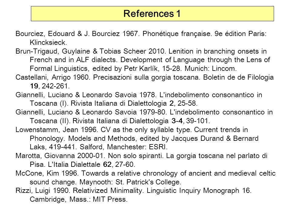 References 1 Bourciez, Edouard & J. Bourciez 1967. Phonétique française. 9e édition Paris: Klincksieck. Brun-Trigaud, Guylaine & Tobias Scheer 2010. L