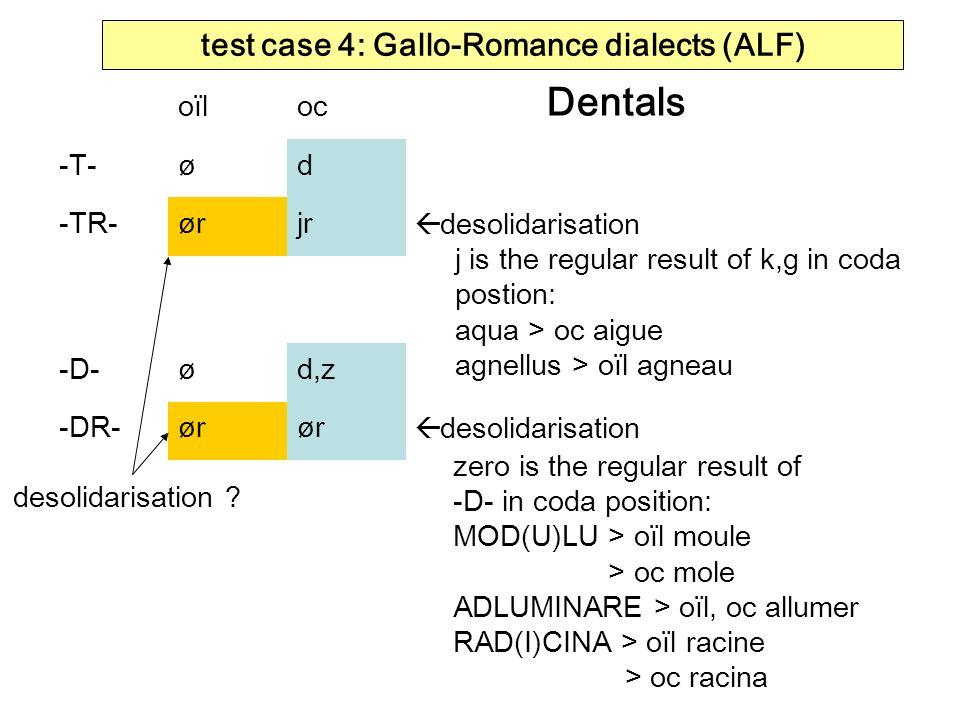 test case 4: Gallo-Romance dialects (ALF) Dentals oïloc -T-ød -TR-ørjr -D-ød,z -DR-ør desolidarisation j is the regular result of k,g in coda postion: