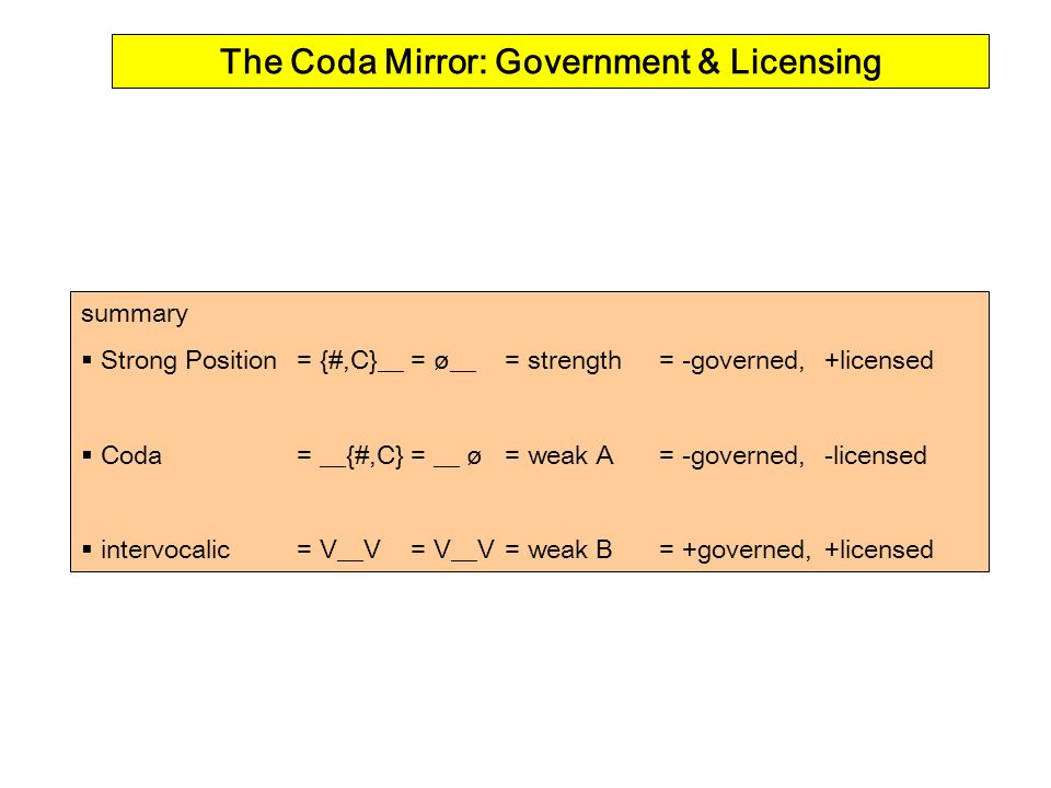 summary Strong Position= {#,C}__= ø__ = strength = -governed,+licensed Coda= __{#,C}= __ ø = weak A= -governed,-licensed intervocalic= V__V= V__V= weak B= +governed,+licensed The Coda Mirror: Government & Licensing