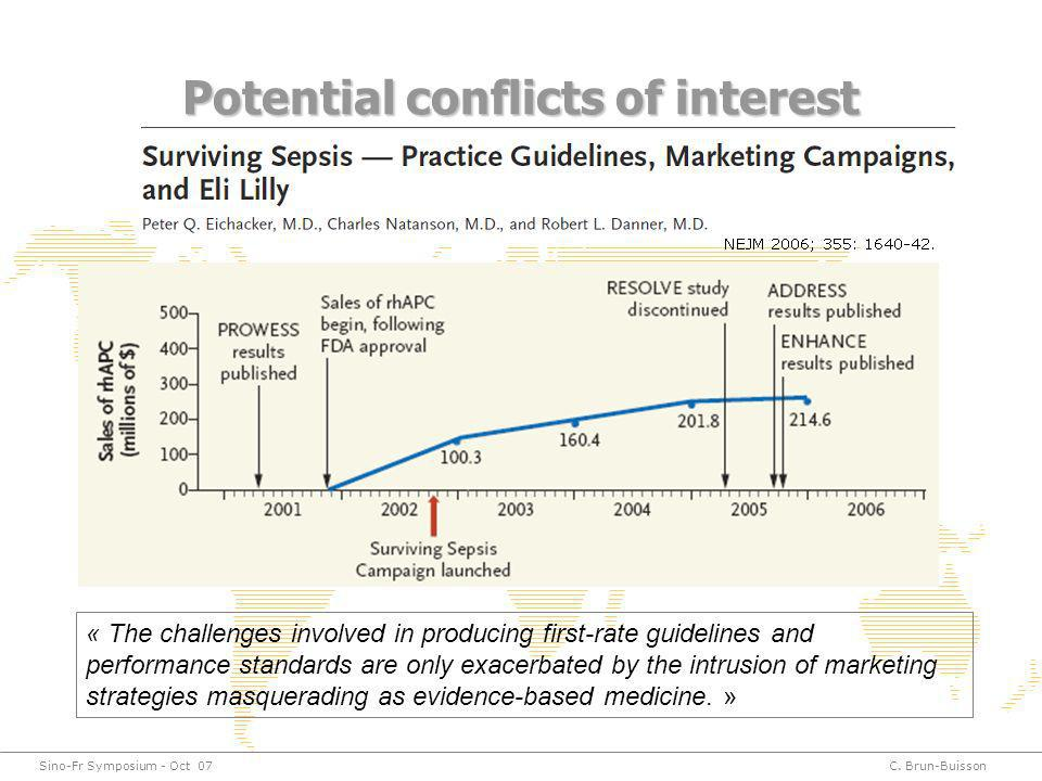 Sino-Fr Symposium - Oct 07C. Brun-Buisson Potential conflicts of interest « The challenges involved in producing first-rate guidelines and performance