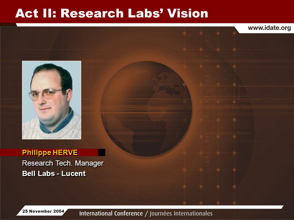 25 November 2004 Act II: Research Labs Vision Philippe HERVE Research Tech.