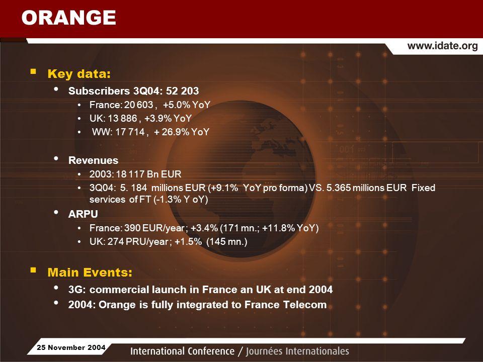25 November 2004 ORANGE Key data: Subscribers 3Q04: 52 203 France: 20 603, +5.0% YoY UK: 13 886, +3.9% YoY WW: 17 714, + 26.9% YoY Revenues 2003: 18 1