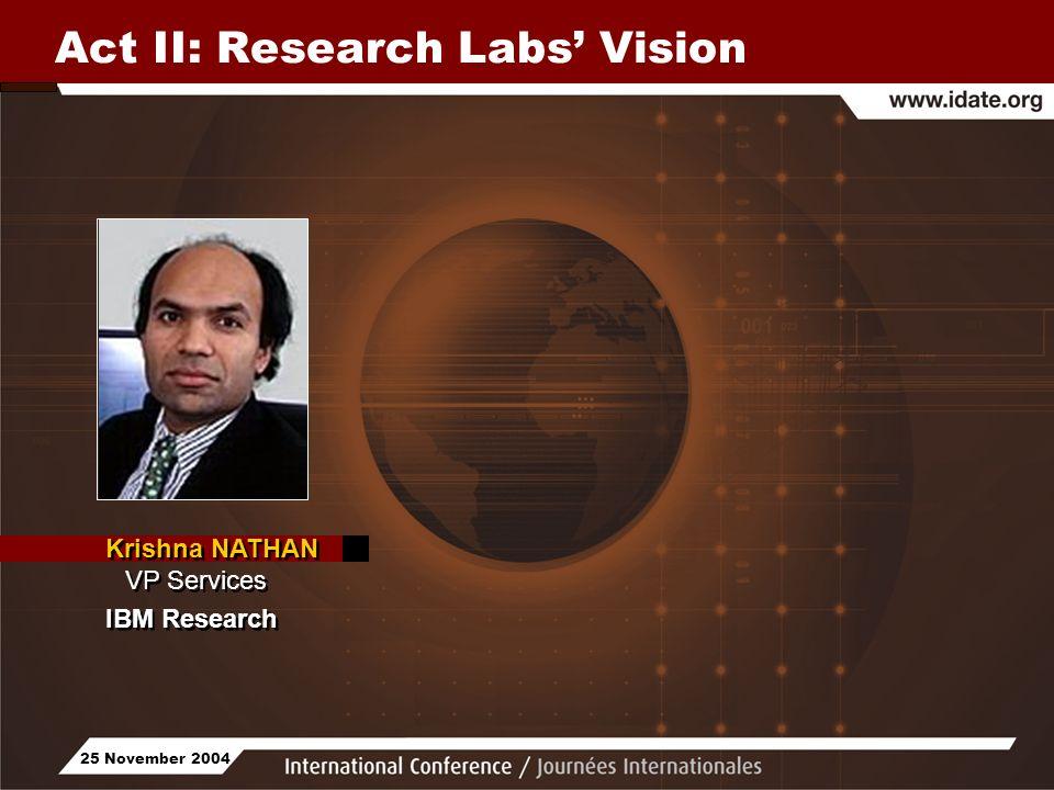 25 November 2004 Act II: Research Labs Vision Krishna NATHAN VP Services IBM Research Krishna NATHAN VP Services IBM Research