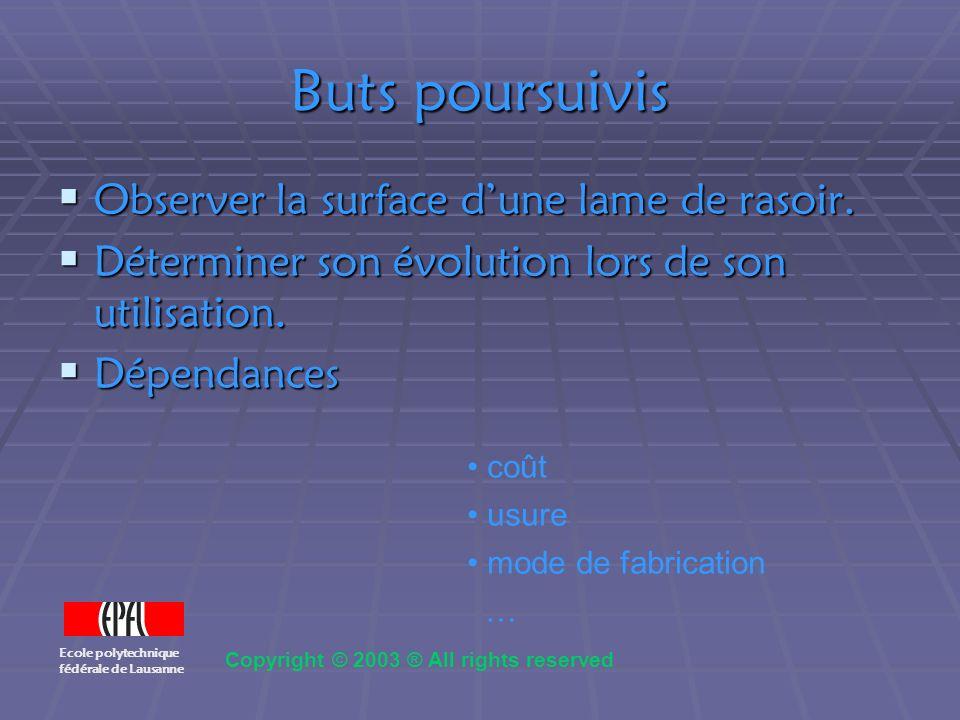 Images au microscope optique 100x lame uséelame neuve Ecole polytechnique fédérale de Lausanne Copyright © 2003 ® All rights reserved