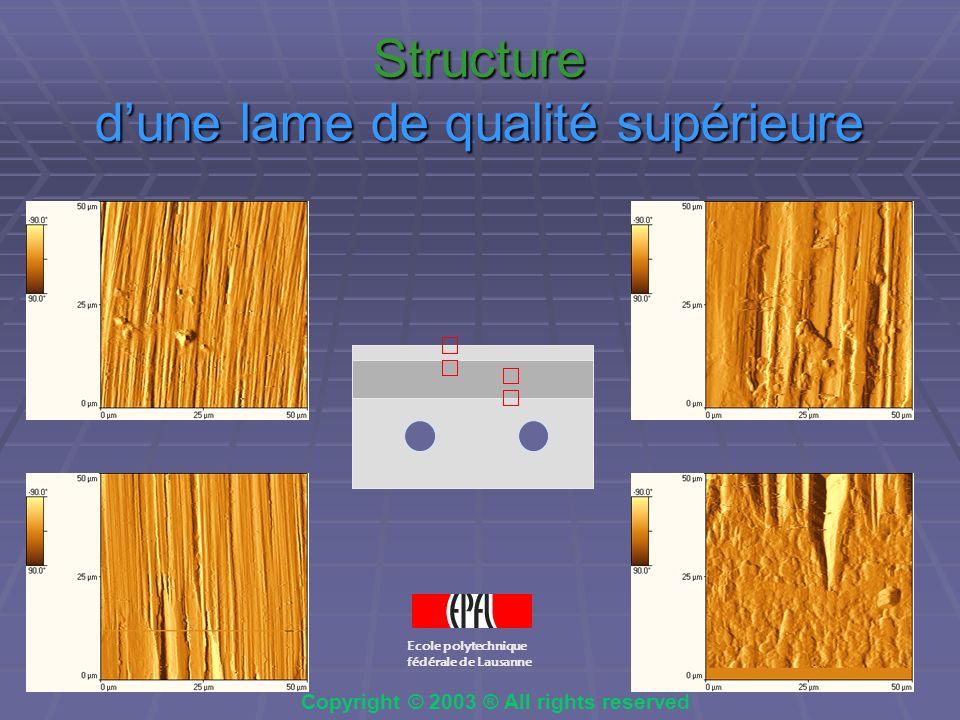 Comparaison des bords de lame lame bon marché lame de qualité supérieure Ecole polytechnique fédérale de Lausanne Copyright © 2003 ® All rights reserved