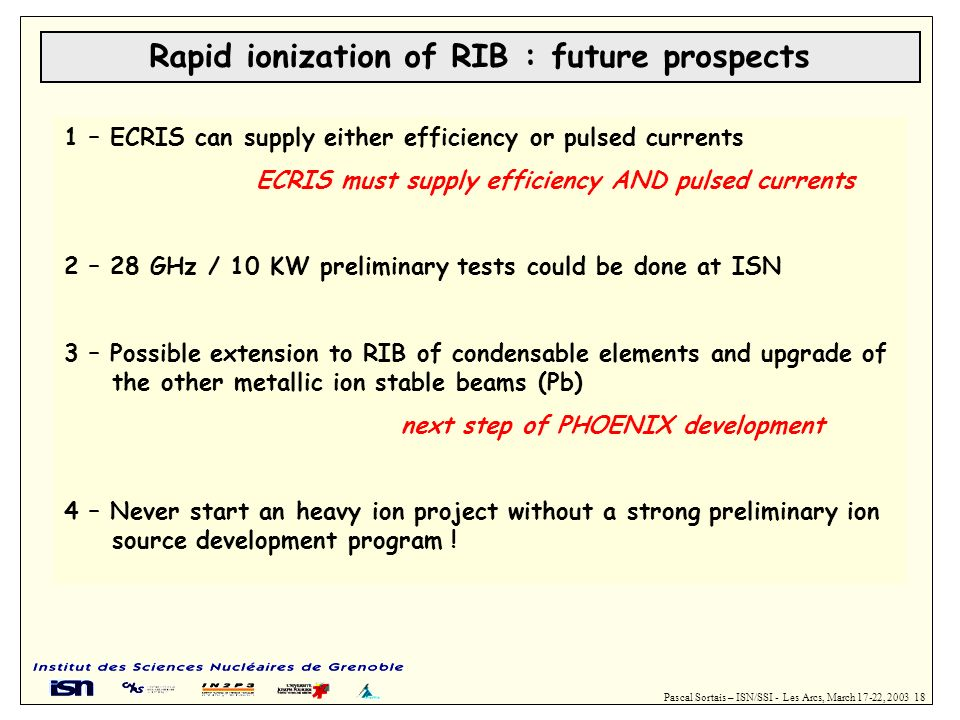 Pascal Sortais – ISN/SSI - Les Arcs, March 17-22, 2003 18 Rapid ionization of RIB : future prospects 1 – ECRIS can supply either efficiency or pulsed